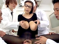 gangbang glasses, nurse, pussy, asian, uniform, tits, brunette, blowjob, busty, red-bottom, banging, fingering, doctor, boobs, nylon