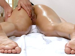 tattoo big-tits, boobs, ass, massage, tits, brunette, oiled